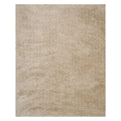 Safavieh Venice Shag Collection SG256C Handmade Champagne Polyester Area Rug