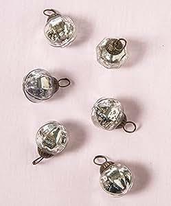 Luna Bazaar Mini Mercury Glass Ornaments (Pearl Design, 1-Inch, Silver, Set of 6) - Vintage-Style Decorations