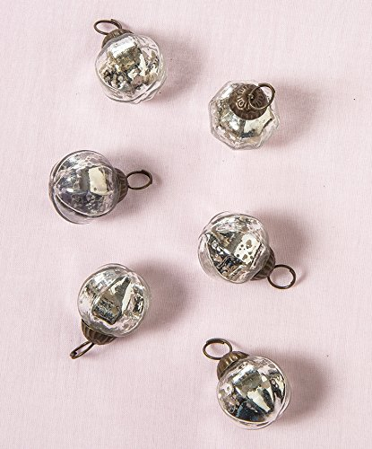 Mini Mercury Glass Ornament Sets Pearl Design | ChristmasTablescapeDecor.com