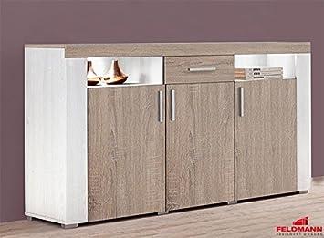 Sideboard 822568 anrichte 3 türig mit schublade sibiu weiß eiche