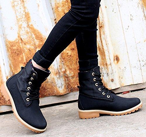Zapatos Trabajo Martin de Botas Mujer Negro o Zapatos Botines Invierno Cordones De Nieve Calentar Minetom Oto Boots Botas Zapatos de IqOO6