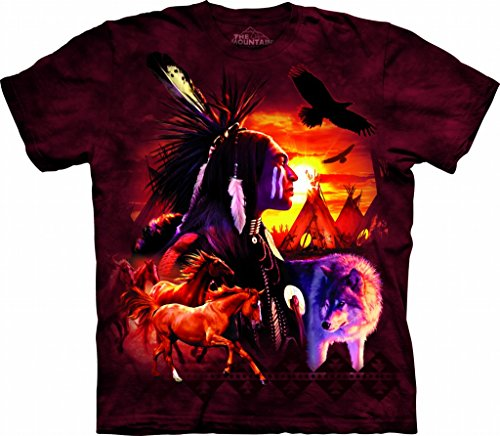 Indian Horse T-shirt - Native American Indian Collage, Horses, Eagles, Sunset T-Shirt