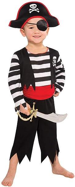 Disfraz de Pirata para niños – Negro, Rojo, Blanco – Talla M 128 ...