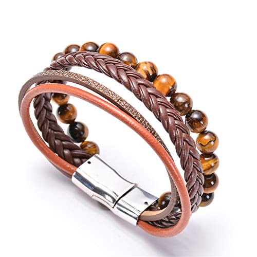 ASHMITA Mens Bead Leather Bracelet Magnetic-Clasp Braided Multi-Layer Wrap Bracelet,8 Inch