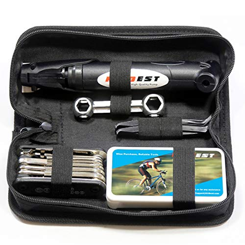 Kitbest Bike Repair Tool Kit. 100 PSI Mini Bike Pump, Tire Puncture Repair Kit, 16 in 1 Bike Multi Tool, Glueless Tire Patch Kit, Bicycle Tire Lever, Hexagon Wrench and Bike Bag