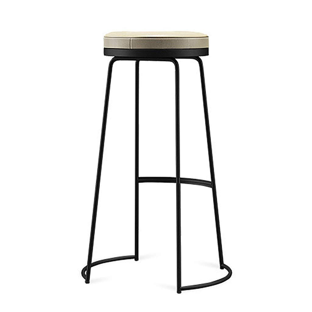 Black 65cm Iron Bar Stool Bar Stool Bar Stool Leisure Stool gold High Stool Suitable for Kitchen Bar Cafe Restaurant Front Desk (Black, gold 45 65 75cm)