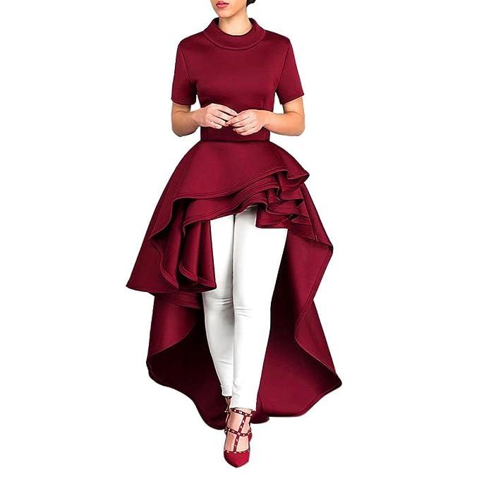Paellaesp Mujer Vestidos de Fiesta Cortos Elegantes (Rojo, L)