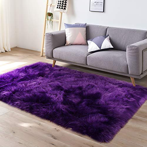 - YJ.GWL Super Soft Faux Fur Area Rug (3'x5') for Bedroom Sofa Living Room Fluffy Bedside Rugs Home Decor,Purple Rectangle