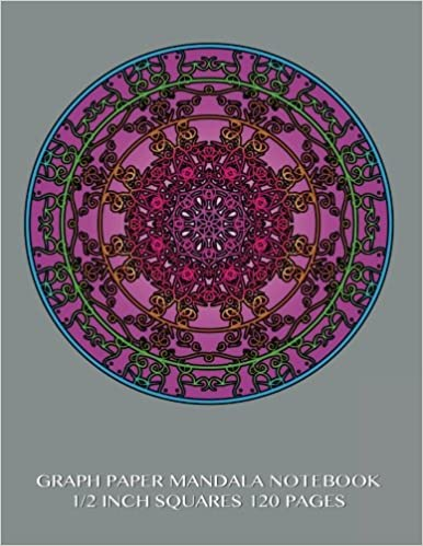 graph paper mandala notebook 1 2 inch squares 120 pages 8 5 x 11