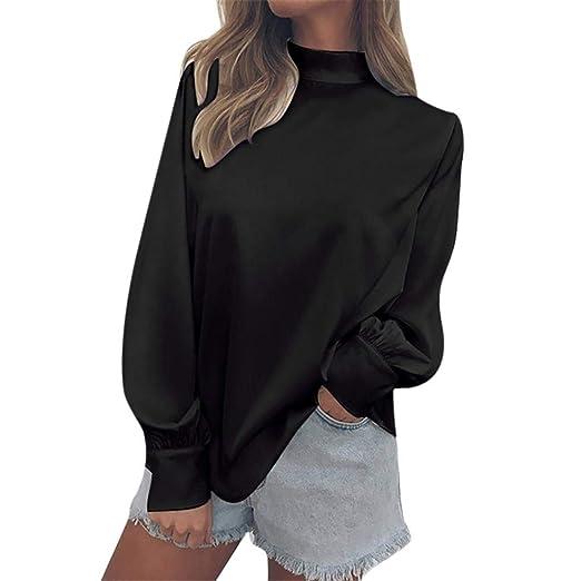 45bf2949ae830 Misaky Women s Fashion Chiffon Solid Turtleneck Office Ladies Lantern Sleeve  Top Shirts Blouse(Black