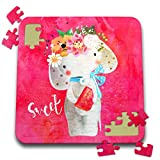 3dRose Uta Naumann Sayings and Typography - Cute Children Watercolor Illustration - Pink Flower Elephant - Sweet - 10x10 Inch Puzzle (pzl_289920_2)