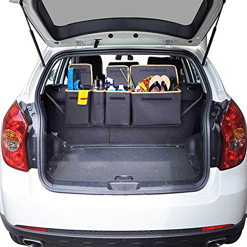 Siivton Backseat Trunk Organizer, Space Saving Car Trunk Organizer with Bottom Plate and Lid Trunk Storage for Kids, Travel, Heavy Duty 4 Pocket Auto Interior Cargo Accessories SUV & Car Organizer