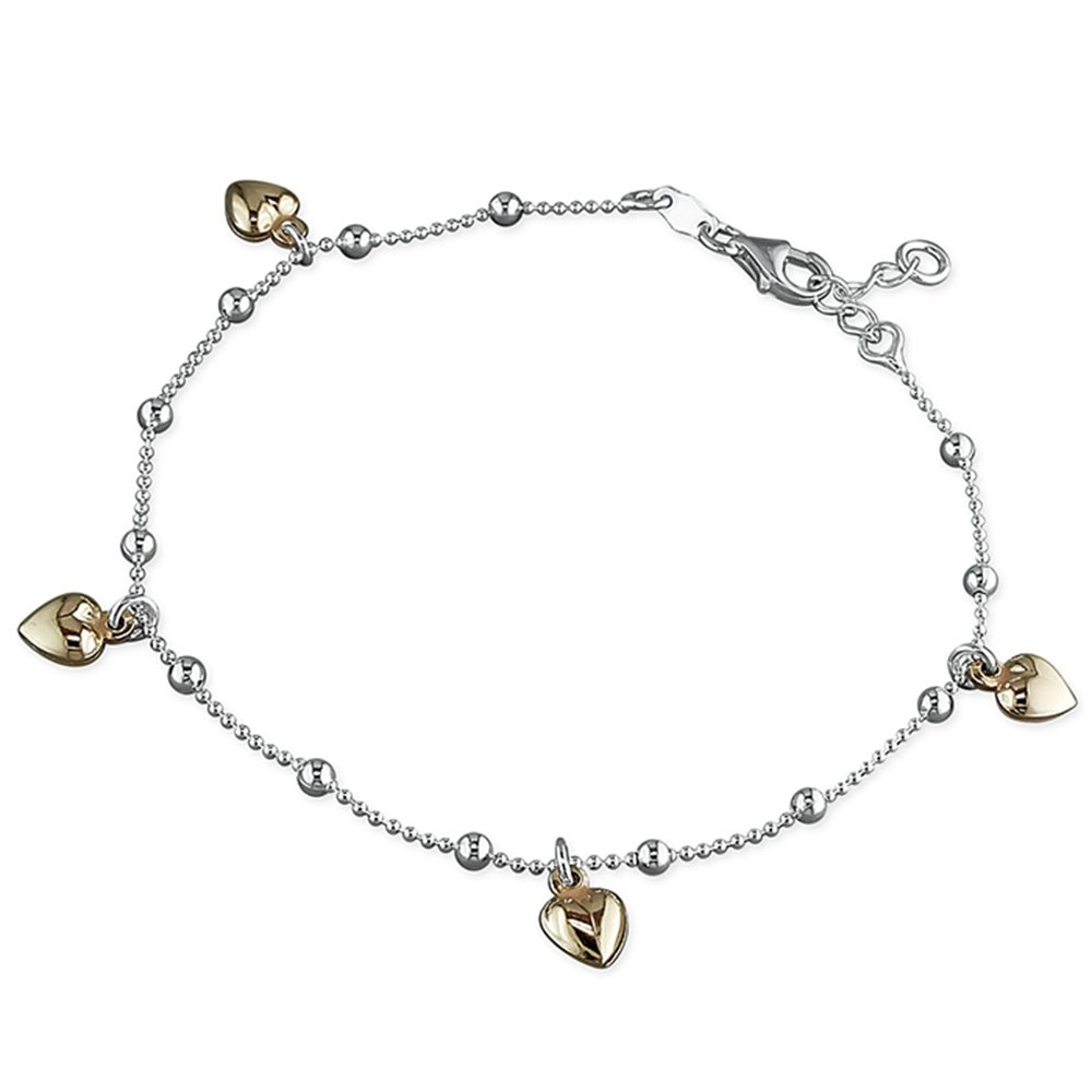 Four Rose Gold-Plated Hearts On Chain Sterling Silver Anklet / Ankle Bracelet / Ankle Chain - 9.75 Inch / 25cm M & M Jewellery H1816-25-1CME-M&M-ANKLET