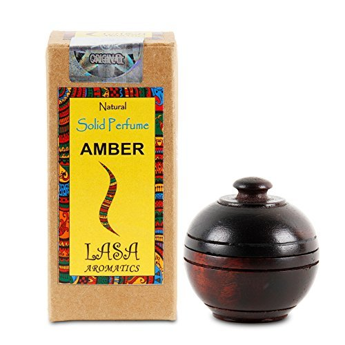 Lasa Aromatics Amber Natural Solid Perfume Body Musk In Wooden Jar - 6 gm (Tea Perfume Solid)