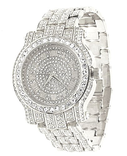Techno Pave Totally Iced Out Pave Silver Tone Hip Hop Men's Bling Bing (Pave Crystal Watch)
