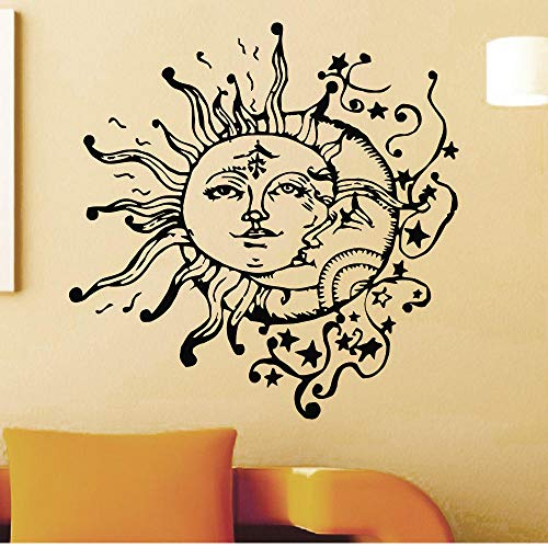 Wall Stickers Murals Wall Decals Home Livingroom Cool Unique Decor Vinyl Wall Sticker Sun Moon Doubled Face Patterned Mural 57X57Cm
