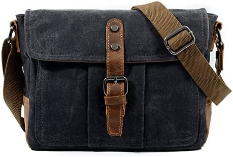 8adf3f83f897 Amazon.com   DCRYWRX Mens Canvas Briefcase Case Vintage Messenger Bag  Waterproof Leather Computer Laptop Bag Shoulder Bag