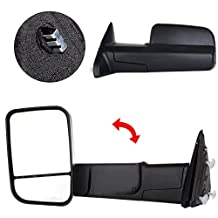 Scitoo Black Side View Towing Mirror for 09-10 Dodge Ram 11-15 Ram 1500/2500/3500 Manual Rearview Rear View Mirrir Towing Mirrors Pair Set
