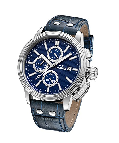 TW Steel 'CEO Adesso' Quartz Stainless Steel Casual Watch, Color Blue (Model: CE7007)