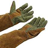 Mig/Stick Welding Gloves,Pure Leather Heat & Fire Resistant Forge Gloves Oven Mitts,Working Protect Gloves with 16'' Extra Long Sleeves for Tig Welders/Grill/Fireplace/Stove/Garden or Animal Handling