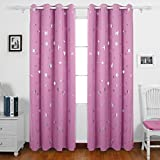Deconovo Stars Foil Printed Thermal Insulated Ready Made Curtains Eyelet Blackout Curtains for Girls Bedroom 46 x 90 Inch Pink One Pair