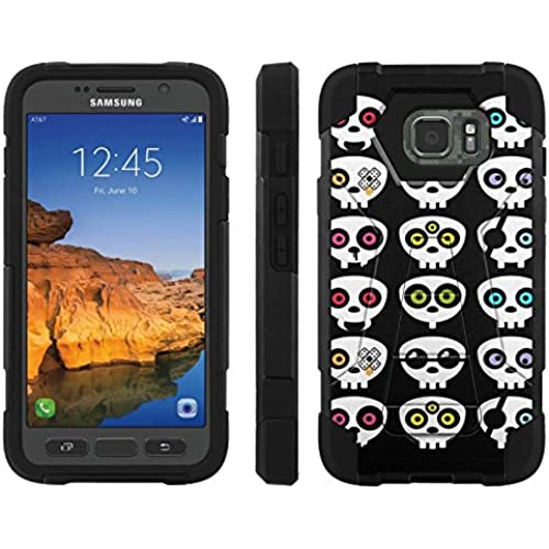 AT&T [Galaxy S7 Active] ShockProof Case [ArmorXtreme] [Black/Black] Hybrid Defender [Kickstand] - [Skull Party] for Samsung Galaxy [S7 Active] Sales