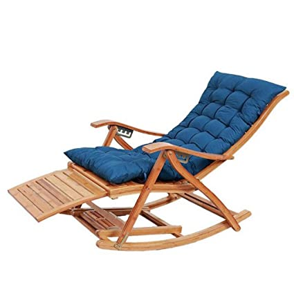 Amazon.com: XEWNEG Folding Bamboo Rocking Chair with Cotton ...