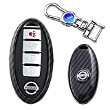 MODIPIM Keyless Entry Remote Case Key Fob Cover Carbon Fiber looks ABS Key Holder Shell With Key Chain For Nissan Rogue Altima Maxima Qashqai Sylphy Sentra Versa