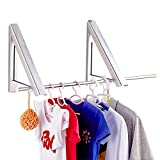 YESURPRISE Wall Mounted Clothes Hanger Folding Closet Rods Retractable Clothes Rack Drying Coat Racks Portable Closet Storage Organizer Space Savers for Home Bathroom Bedroom Lavatory Balcony Laundry, Aluminum, Easy Installation - 2 Packs