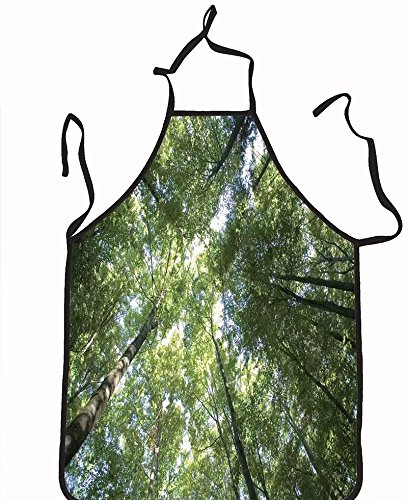 chanrancase tailored apron looking up to the sky through trees Children, unisex kitchen apron, adjustable neck for barbecue 26.6x27.6+10.2(neck) - Men Women Looking Manila For