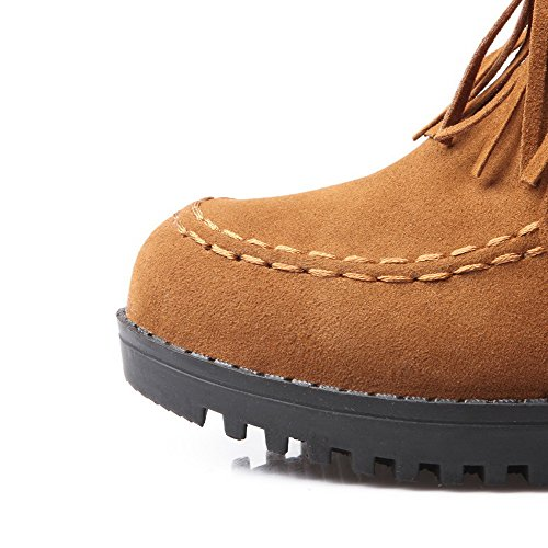 AmoonyFashion Womens Round Closed Toe Low-Top Kitten-Heels Solid Imitated Suede Boots Yellow hzbRMPPN