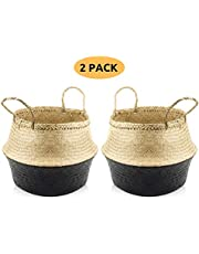 """ACELEY Woven Seagrass Belly Basket with Handles – Indoor Plant Basket for 10"""" Planter, House Plant Pot Cover, Toy Storage Basket – Foldable & Durable Hand Made Seagrass Basket"""