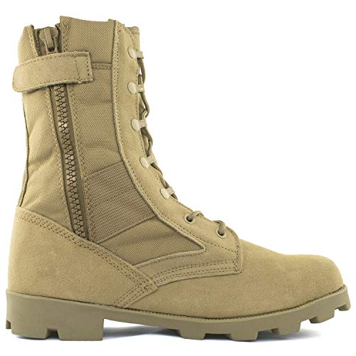 Men's 9 Inch Desert Tan Boots with Side Zipper for Work, Construction, Hiking, Hunting, Outdoors. Durable, Comfortable,True to Size. 6 Month - Boots Desert Combat Military