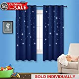 Navy Stars Kids Room Curtain - NICETOWN Space Inspired Night Sky Twinkle Star Curtain, Creative Blackout Window Drape for Bedroom (1 Panel, 52 x 63 inch Panel, Navy Blue)