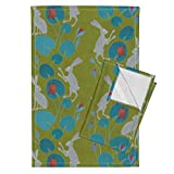 Roostery Hare Tortoise Turtle Water Lilies Olive Green Animals Easter Tea Towels Slow Walk/Olive Green/by Lavish Season Set of 2 Linen Cotton Tea Towels