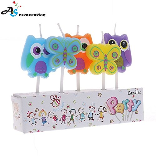 A&S Creavention® 3D Holiday Theme Kid Party Birthday Cupcake Candles 5PCS Set (Butterfly Owl) ()