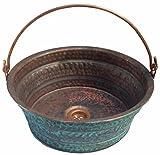 Egypt gift shops Green Patina Oxidized Fire Burnt Vessel Copper Bathroom Bucket Sink