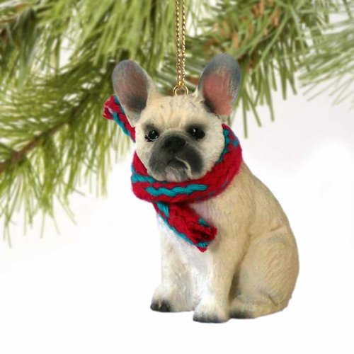 - French Bulldog Tiny Miniature One Christmas Ornament Fawn - DELIGHTFUL! by Conversation Concepts