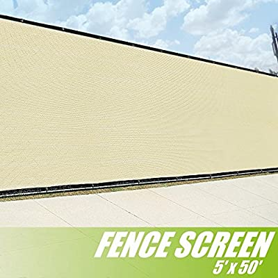 ColourTree 5' x 50' Fence Screen Privacy Screen Beige - Commercial Grade 150 GSM - Heavy Duty - 3 Years Warranty Custom