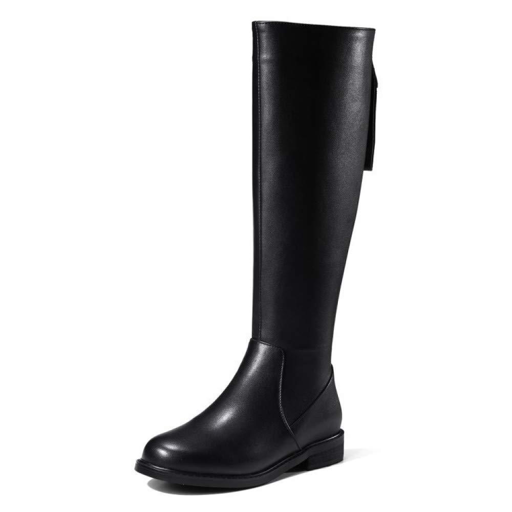 HGDR Frauen Schwarz Leder Kniehohe Stiefel Round Toe Zurück Zip Flache Ferse Lange Reitstiefel