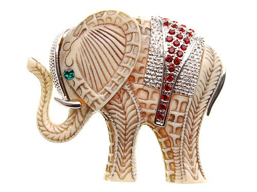 Emerald Green Rhinestone Pin (Alilang Indian African King Elephant Ruby Red Emerald Green Eye Crystal Rhinestone Brooch Pin)