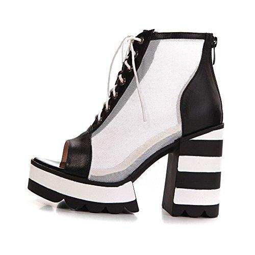 Allhqfashion Donna Tacco Alto Materiale Morbido Colori Assortiti Allacciati Sandali Peep Toe Bianco