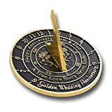 The Metal Foundry Personalized 50th Golden Wedding Anniversary Sundial Gift with Pedestal Idea is A Great Present for Him, for Her Or for A Couple to Celebrate 50 Years of Marriage