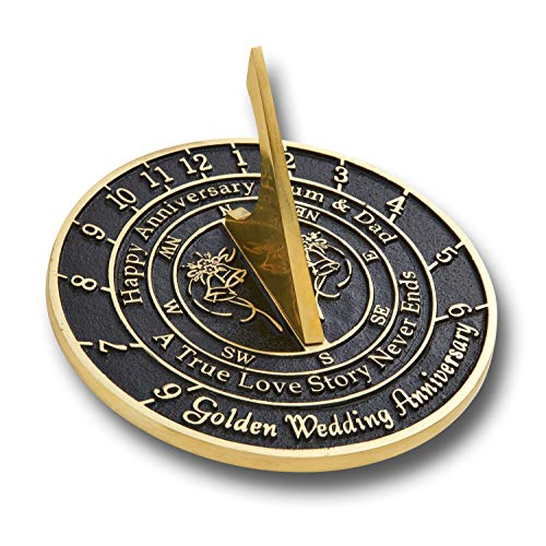 The Metal Foundry Personalized 50th Golden Wedding Anniversary Large Sundial Gift Idea is A Great Present for Him, for Her Or for A Couple to Celebrate 50 Years of Marriage ()