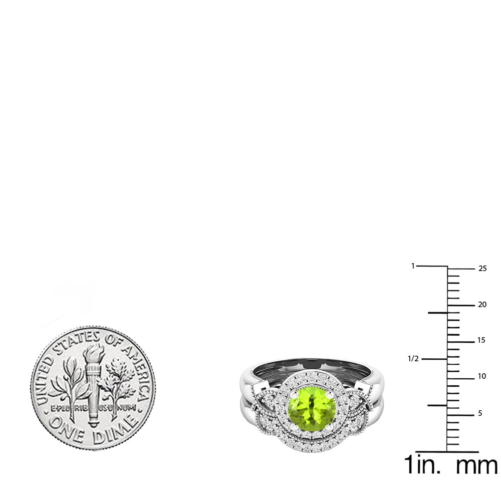 Dazzlingrock Collection 10K 6 MM Round Peridot & White Diamond Ladies Halo Engagement Ring Set, White Gold, Size 8 by Dazzlingrock Collection (Image #3)