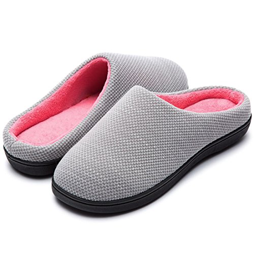 RockDove Women's Birdseye Knit Memory Foam Slipper, Size 11-12 US Women, Gray/Pink
