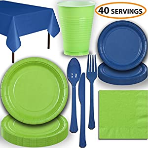 Disposable Party Supplies, Serves 40 - Lime Green and Blue - Large and Small Paper Plates, 12 oz Plastic Cups, heavyweight Cutlery, Napkins, and Tablecloths. Full Two-Tone Tableware Set