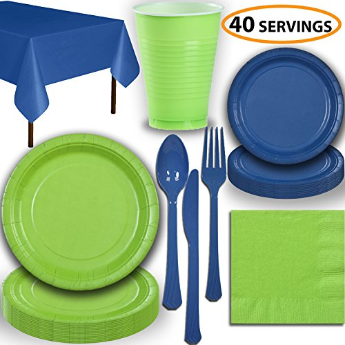 Disposable Party Supplies, Serves 40 - Lime Green and Blue - Large and Small Paper Plates, 12 oz Plastic Cups, Heavyweight Cutlery, Napkins, and Tablecloths. Full Two-Tone Tableware Set]()