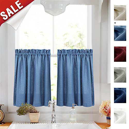 24 Inches Kitchen Tier Curtains Windows Closet Casual Weave Bathroom Short Curtain Panels Semi Sheer Privacy Half Window Drapes Blue 1 Pair