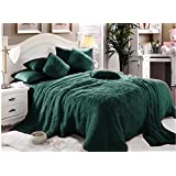 Comfy Luxe Soft Faux Fur 6 Pieces Blanket Comforter Set,King,Olive Green
